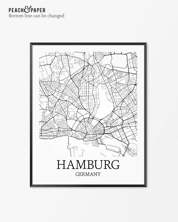 hamburg map art print hamburg poster map of hamburg decor hamburg city map art hamburg gift. Black Bedroom Furniture Sets. Home Design Ideas