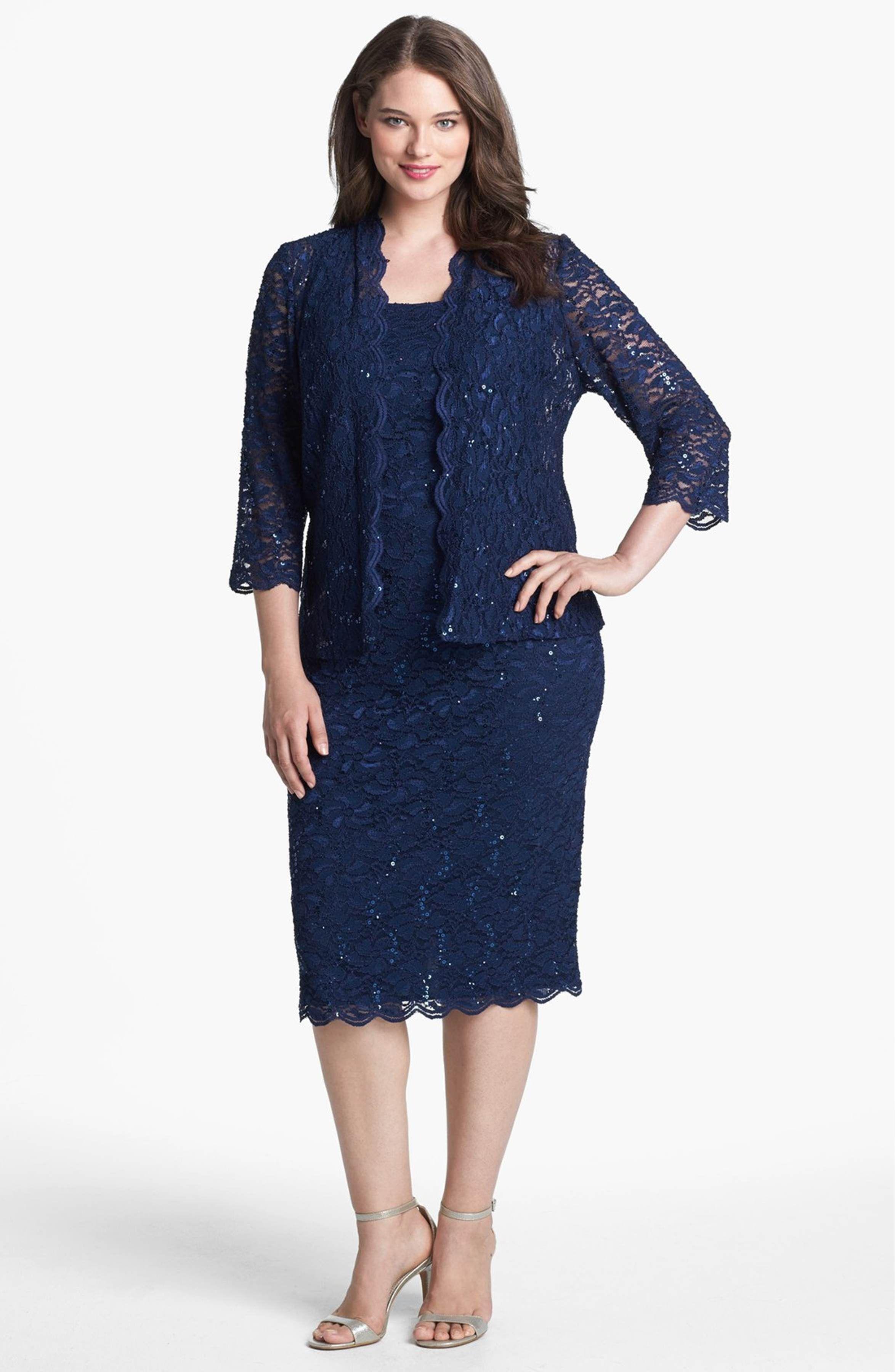 Main Image - Alex Evenings Lace Dress & Jacket (Plus Size) | Mother ...