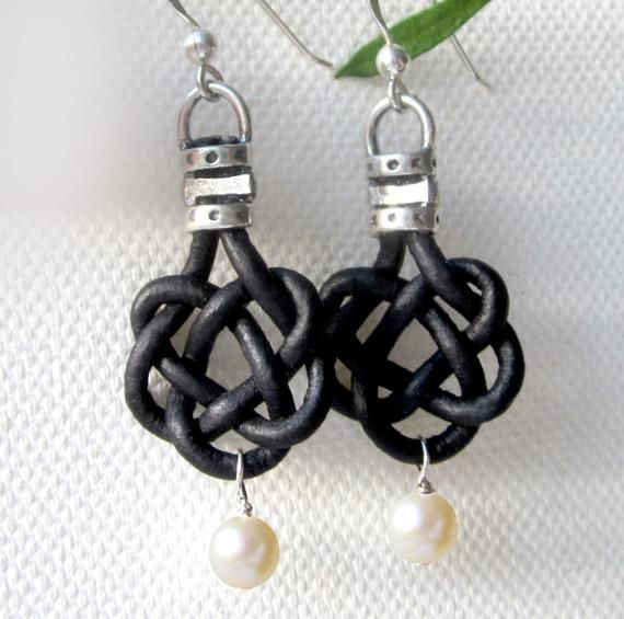 Photo of Celtic Knot Pearl Freshwater Pearl Earrings Womens Casual Jewelry Gift Black or Brown Leather