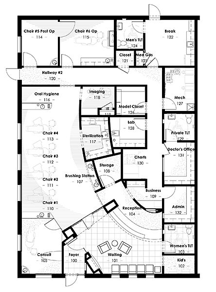 Dental offices and office floor plan on pinterest for Plano distribucion clinica dental