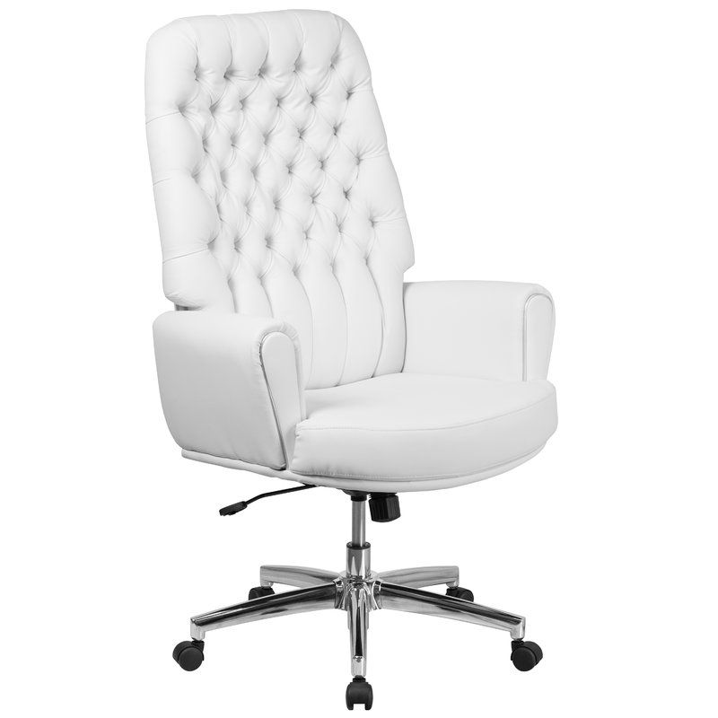 Alcott Hill Abbate Traditional Tufted High Back Leather Executive Chair  Color: White