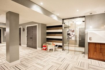 Funky Fresh Basement - the carpet tiles are to die for because they're an interesting pattern and they can easily pop out in case of a spill | Courtesy of Madison Taylor Interior Design