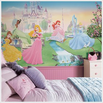 The wall mural on one side of the castle/princess room