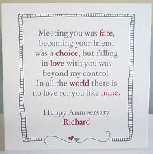 Personalised Handmade Fate Wedding Anniversary Card