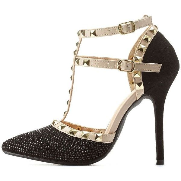 62587af6e3a Charlotte Russe Black Rhinestone Studded Strappy Pointed Toe Pumps by...  ($43) ❤ liked on Polyvore featuring shoes, pumps, heels, black, black  pointed-toe ...