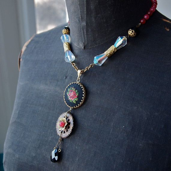 Steampunk Snow White Rose Red Necklace Black Onyx Crystal Petit Point Watch Gear Deep Pink Jade
