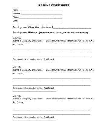 Resume Worksheet Engr Uark Edu Creator Free Examplefree Builder   Resume  Worksheet  Resume Worksheet