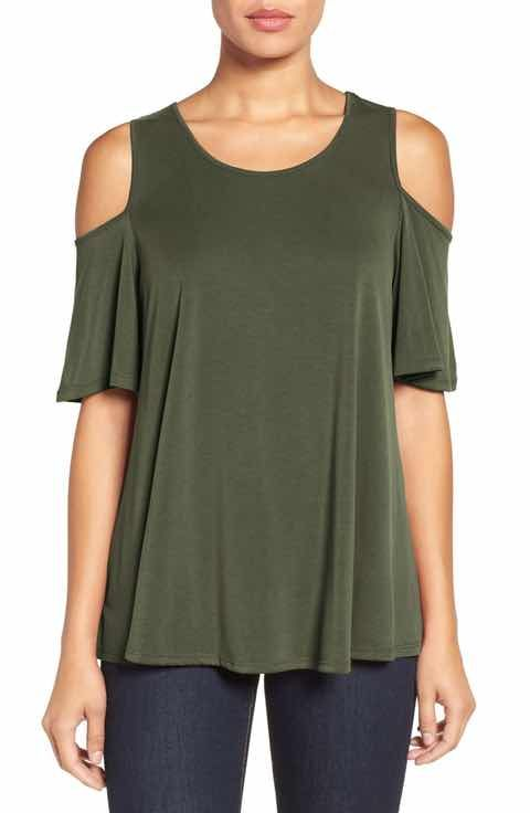 c55b91670e52e Bobeau Cold Shoulder Flutter Sleeve Top (Regular   Petite)