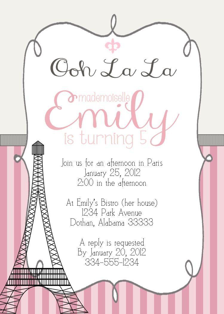 Paris Eiffel Girl Birthday Party Invitation Pink Or Teal