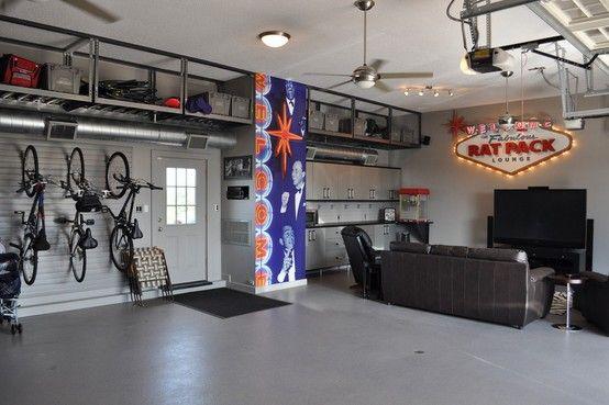 Vegas Garage Man Cave Like The Ceiling Shelving Home Garage Workout Studio Pinterest