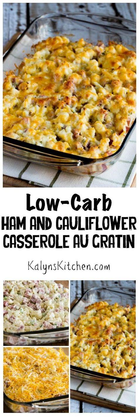 Low Carb Ham And Cauliflower Casserole Au Gratin Recipe Low Carb Casseroles Atkins Recipes