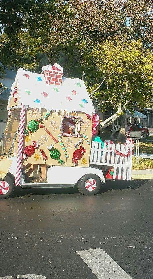 Gingerbread House Decorated Golf Cart In Golf Cart Ideas Christmas Parade Golf Cart Decorations Christmas Golf Outdoor Christmas