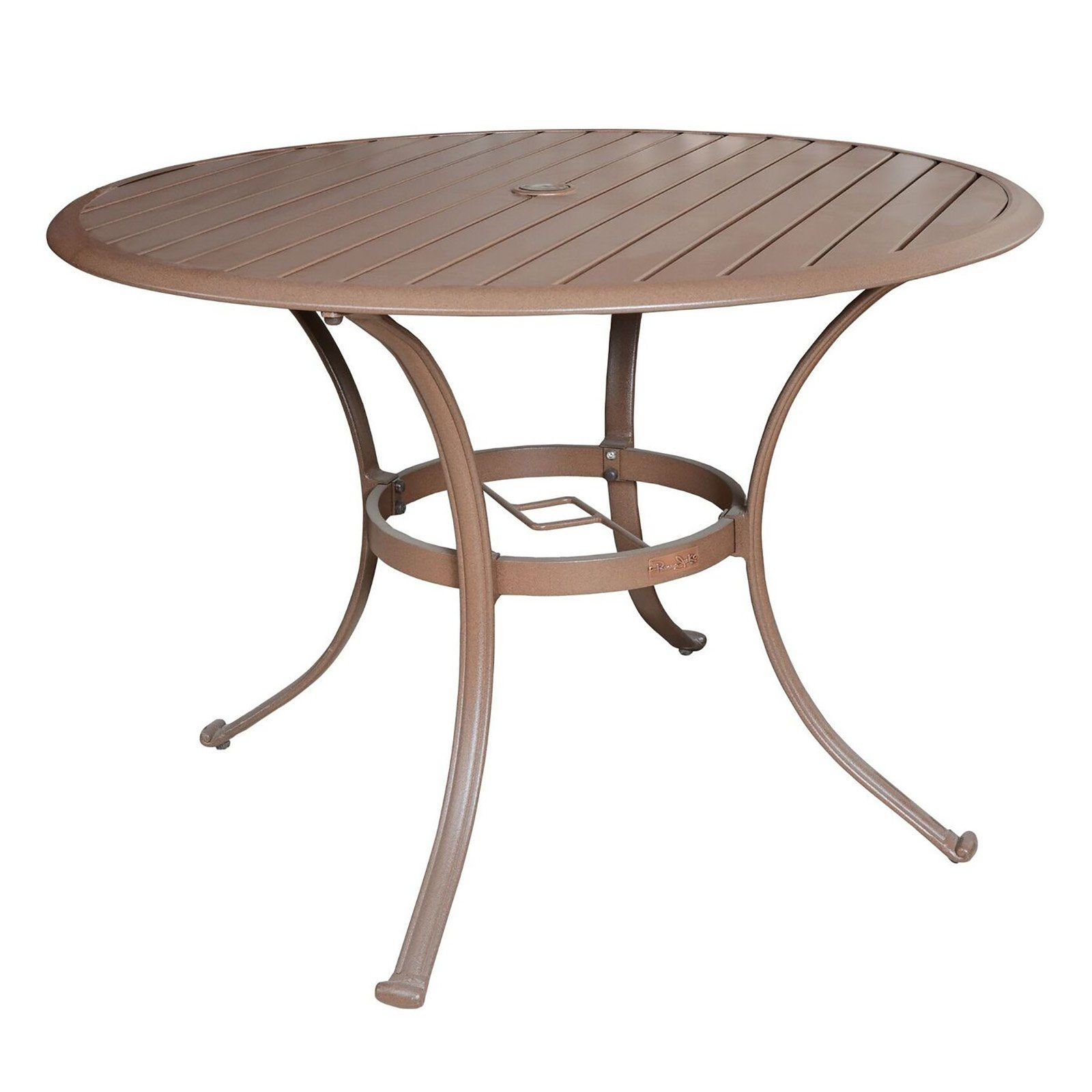 Outdoor Panama Jack Island Breeze 48 In Round Slatted Aluminum Patio Dining Table With Umbrella Hole Pjo 1001 Esp 48 Round Outdoor Dining Table Round Dining Table Patio Dining