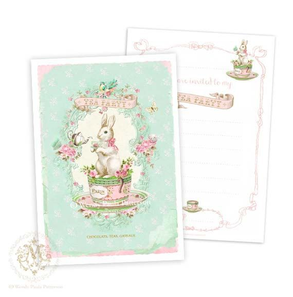 Bunny Rabbit, tea party invitations, baby shower, pink roses, teacup, birthday party, teapot, mint green, pink, butterfly, Easter, notecards