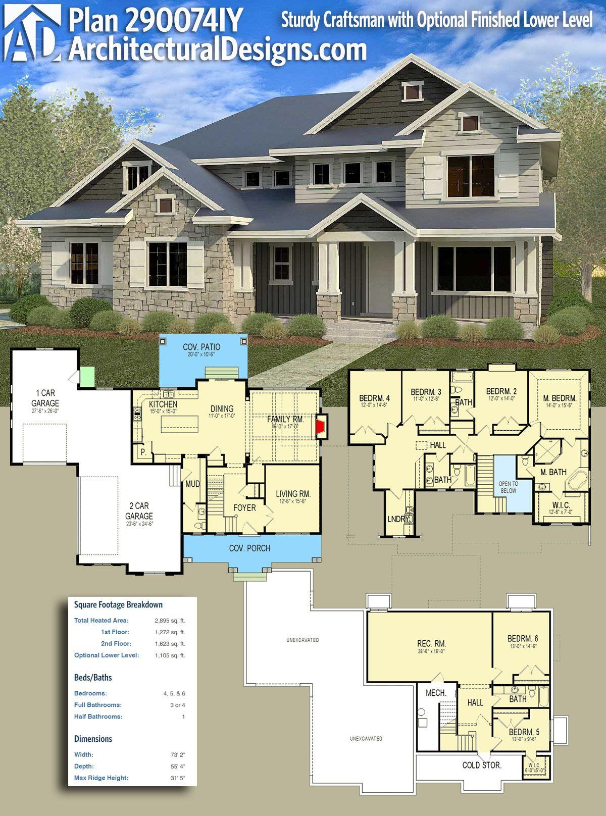 Plan 290074iy Sturdy Craftsman With Optional Finished Lower Level Craftsman House Plans Craftsman House Craftsman House Plan