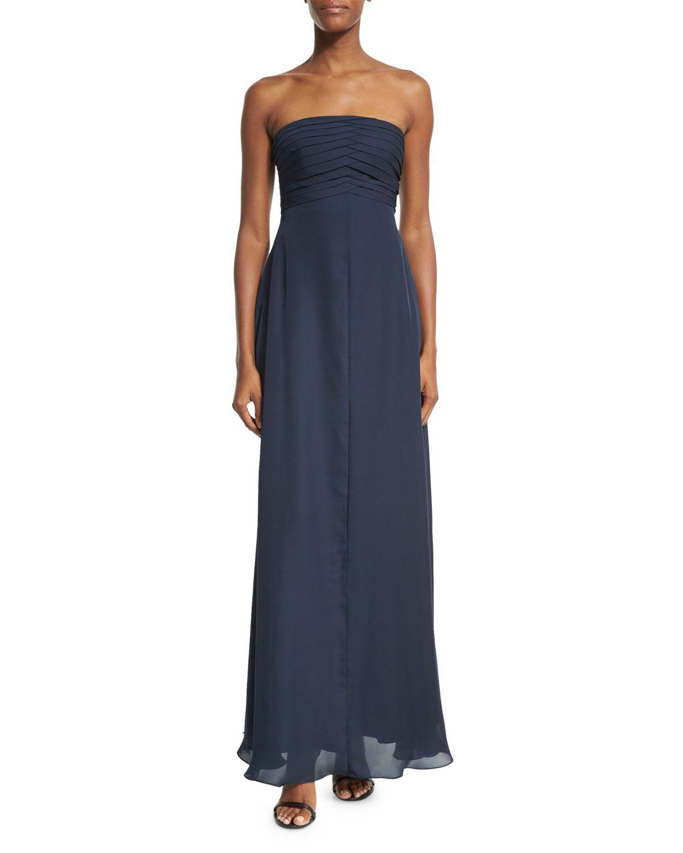 Strapless Pleated-Bodice Gown, Astral Blue - Armani Collezioni