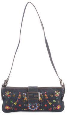 771c5c0690 Fendi Dark Blue Denim Beaded Floral Baguette Shoulder Handbag BC11524