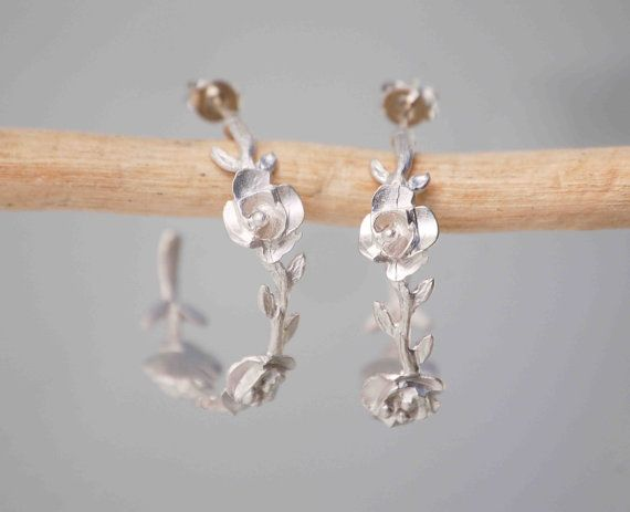 Rose Vine Silver Hoop Earrings Bride Wedding Romantic Bohemian Twig Branch Flower Jewelry Silver Hoop Earrings Bride Earrings
