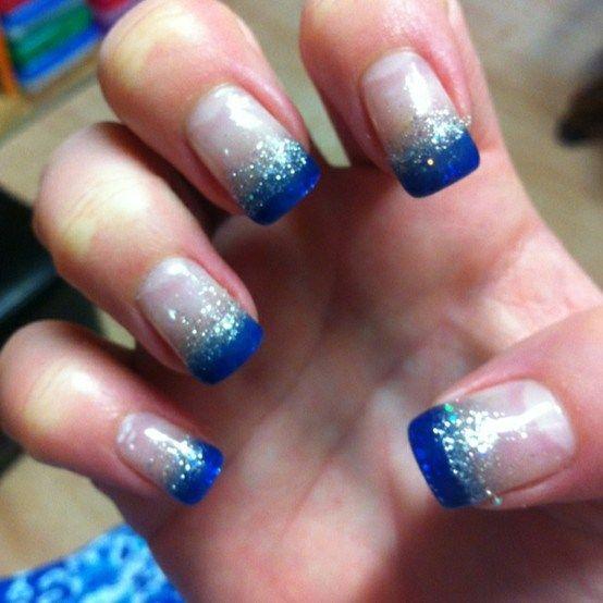 Blue French Tip Nails French Tip Nails French Tip Nail Designs Nail Tips