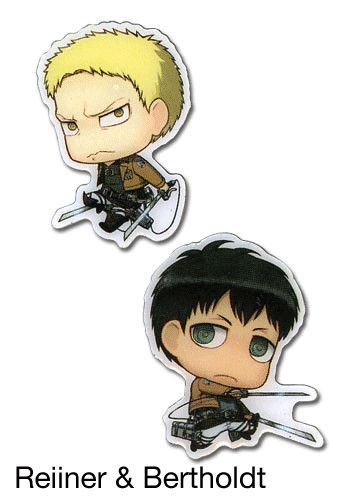 From Attack on Titan comes these totally adorable Survey Corps member Chibi-Chara pin sets! We've got BFFs Reiner Braun and Bertholdt Hoover, straight talkers Connie Springer and Jean Kirstein, the glutton Sasha Blouse and the serious Annie Leonhart, the sly Ymir and her only friend Christa Lenz, and finally humanity's greatest soldier Levi Ackerman and a Survey Corps emblem. These companions are ...