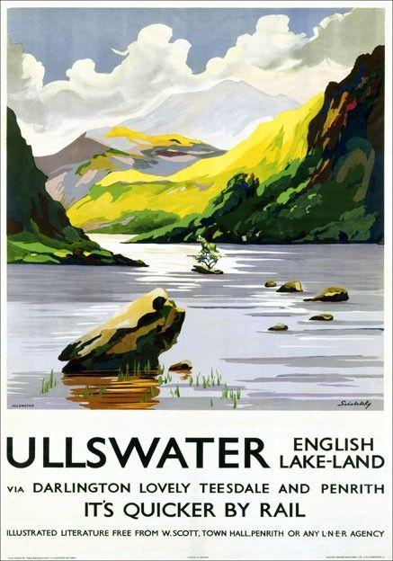 VINTAGE LAKE DISTRICT ULLSWATER RAILWAY TRAVEL A3 POSTER PRINT Kunst