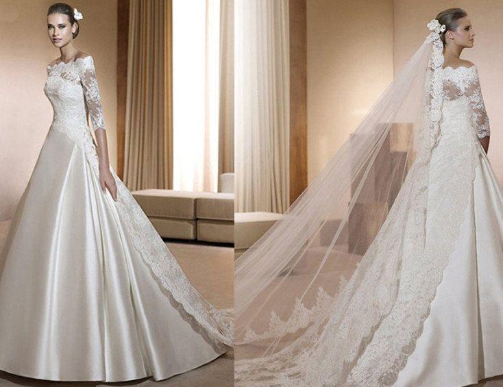 Custom Vintage White Lace Tulle Wedding dress S335. $428.00, via Etsy.