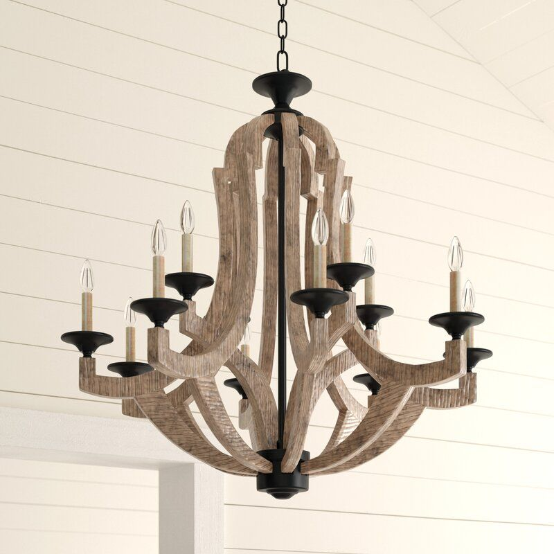 Tollison 12 Light Candle Style Empire Chandelier In 2020 Wood And Metal Chandelier Chandelier Empire Chandelier