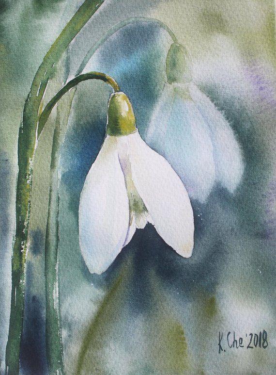 Snowdrop Flower Original Watercolor Painting Spring Flowers Etsy Watercolor Paintings Flower Painting Watercolor Landscape