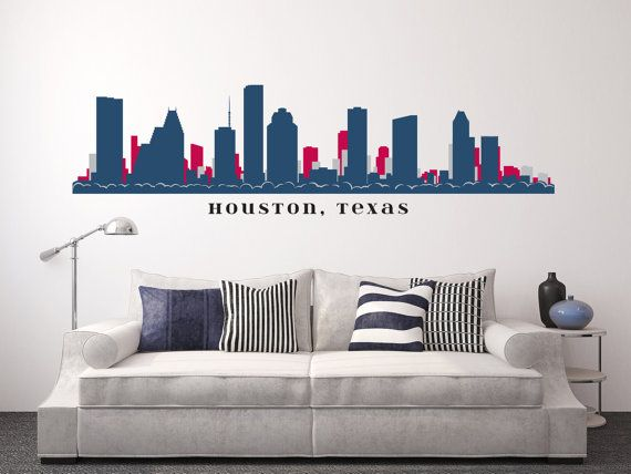 Houston Texas Skyline Football Team Colors Wall Decal Vinyl L N Stick Up To 100 Wide College Dorm Office Business Decor