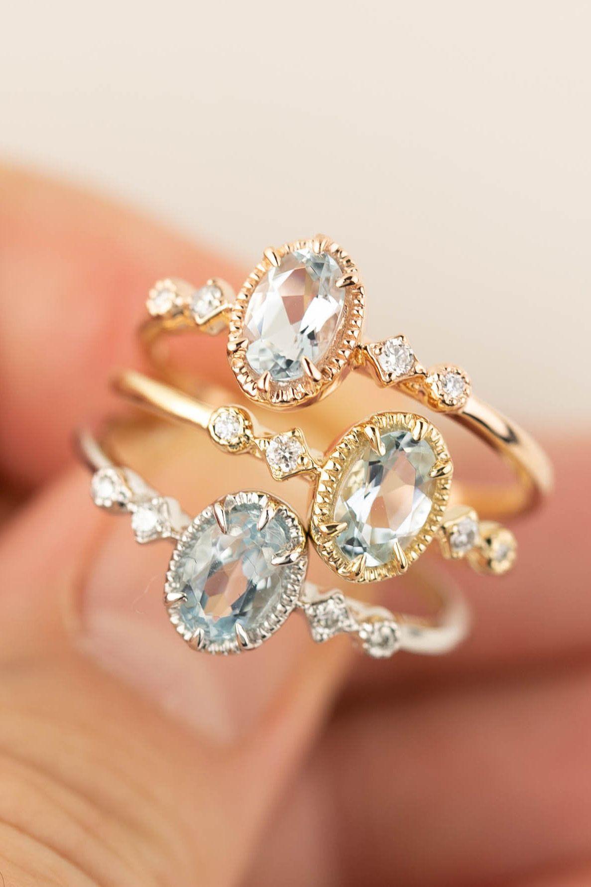 Aquamarine statement ring Oval aquamarine solitaire ring