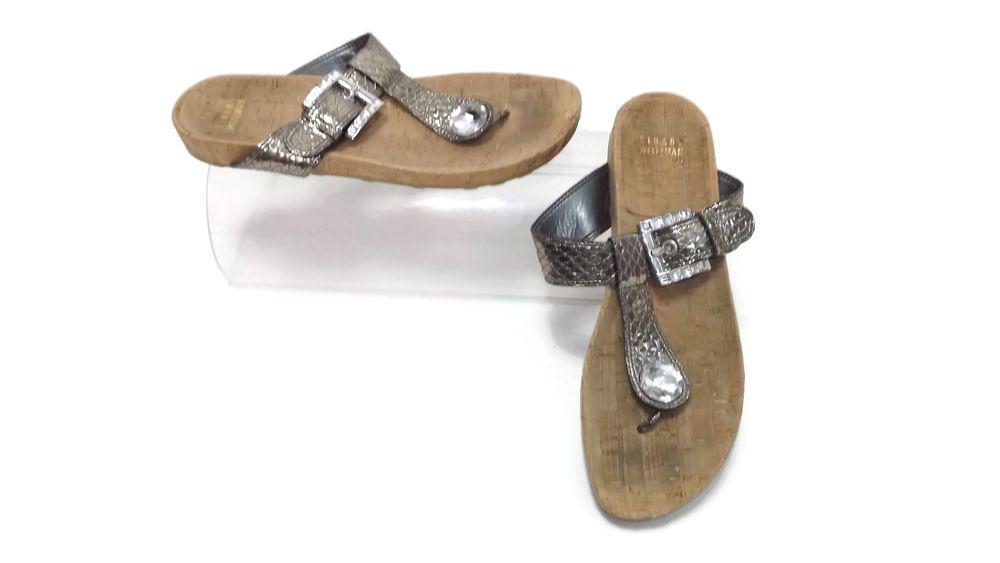 STUART WEITZMAN womens Silver Pewter Snake Leather Mules Shoes Slides Size 7.5 M #StuartWeitzman #Mules