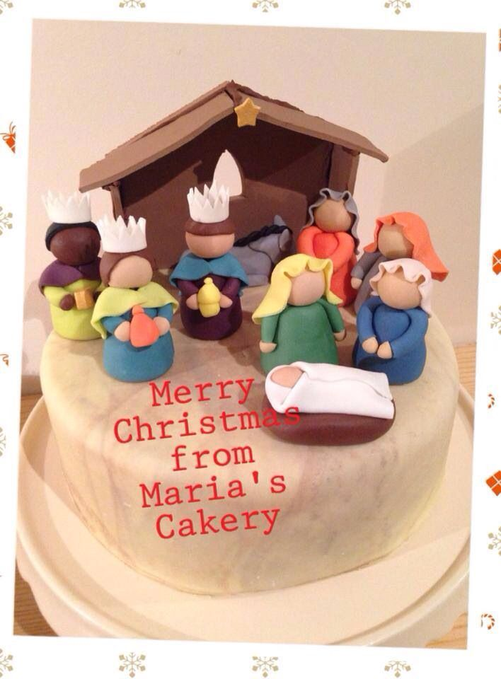 Sugarpaste Nativity scene cake