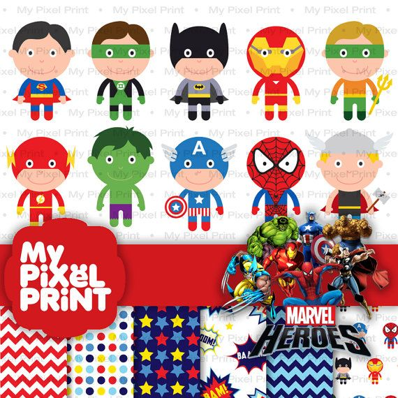 Superman spiderman. Cute superhero digital clipart