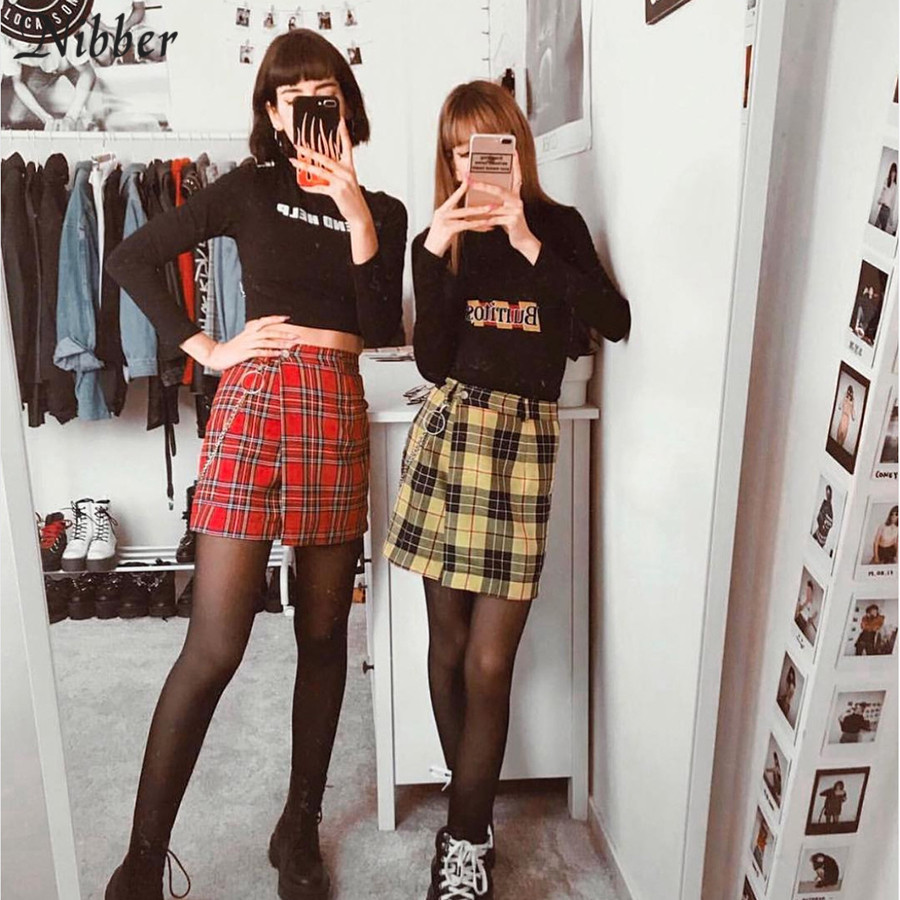 Red Plaid Mini Skirts Spring Vintage Women Summer Fashion Outfitters Jkp3848 In 2020 Yellow Skirt Outfits Womens Fashion Skirt Mini Skirts