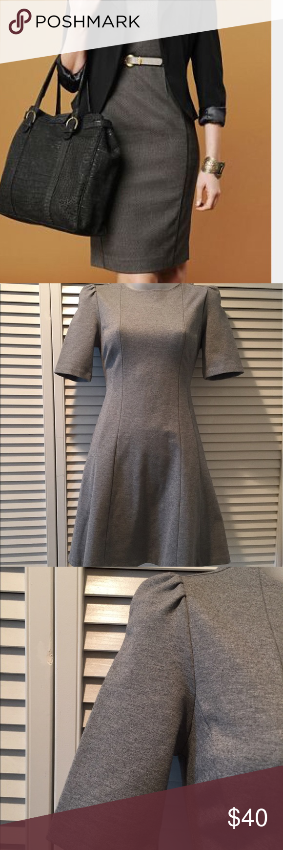 """Zara - Gray Business Dress A professional business dress from Zara will have you looking sharp! An A-Line silhouette makes it a very flattering fitted dress, simple yet chic and you can dress it up with a statement necklace, or add a belt or blazer. Gently worn 1x in like new condition, the material tag has been cut off but it's a cotton/elastane blend so there is some room for stretch. The sleeves hit right at the elbow and there is a zipper at the back. Length is 32"""". The perfect…"""