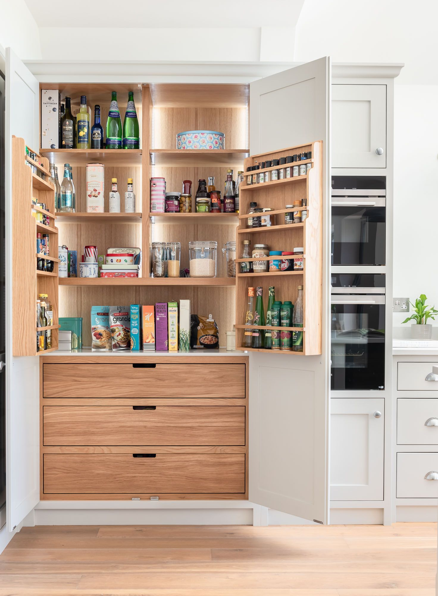 Oak Pantry Cupboard Kitchen Remodel Small White Wood Kitchens Kitchen Design