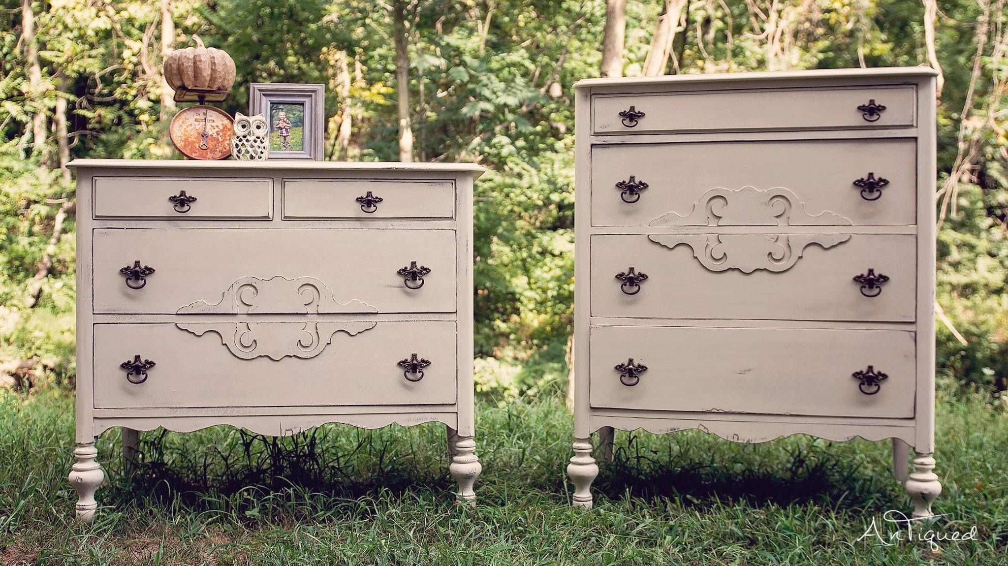 Matching Antique Dressers painted with a creme chalk paint and decorated with fall decor