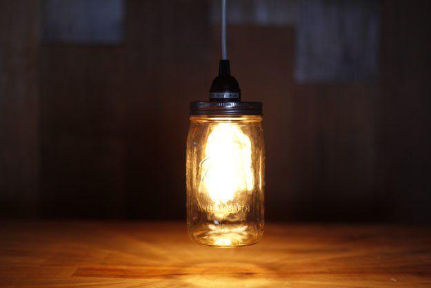 Lampada Con Barattolo Di Vetro : Riciclare barattoli vetro idea creativa lampada illuminazione fai