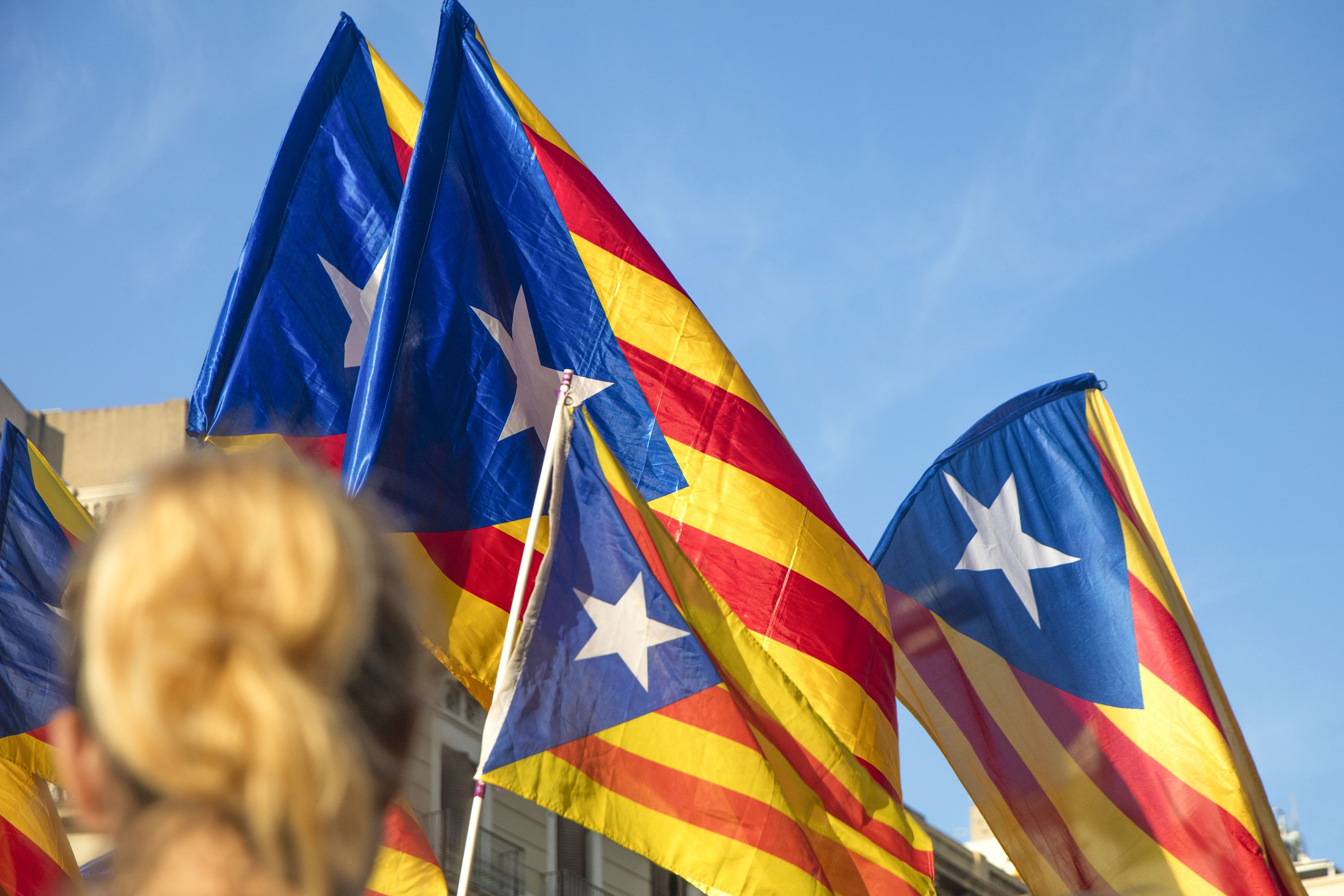 Demonstrators Bearing Catalan Flags During Protests For Independence In Barcelona Catalonia Spain Flag Barcelona Photo