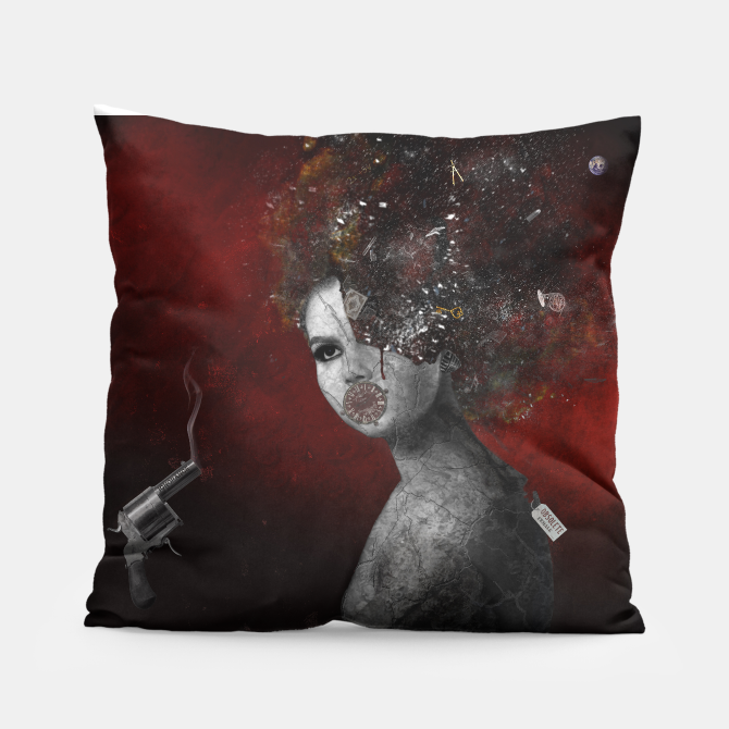 'Deprived' home décor throw pillow by artist Nola Lee Kelsey