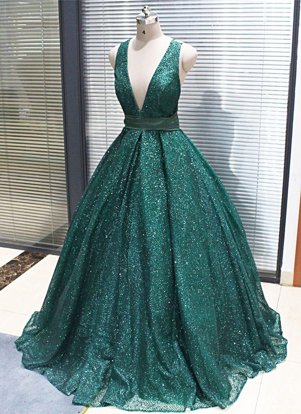 2019 sparkly dark green sequined long v neck evening dress
