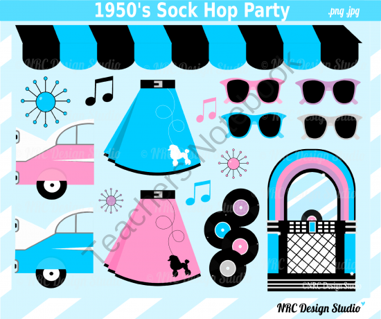 1950s sock hop party clip art for personal and commercial use from rh pinterest com 1950's clip art border 1950 dancers clip art