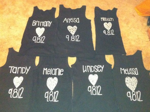 BM Proposals Cards and Tanks (lots of pictures!) :  wedding black bmproposal bridesmaid proposal bridesmaids cards green tank tops white Back Of BM Tanks
