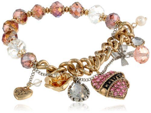"""Betsey Johnson """"Holiday Boxed"""" Gift Box with Love Heart Half Stretch Bracelet, 7.5"""""""