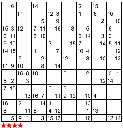 picture about Monster Sudoku Printable titled Tremendous Sudoku 16x16 n 813 sudoku Sudoku puzzles
