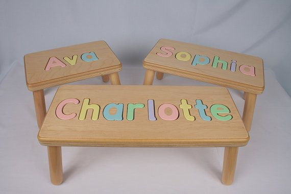 Phenomenal Wooden Name Puzzle Step Stool Bench By Jandpwoodproducts On Caraccident5 Cool Chair Designs And Ideas Caraccident5Info