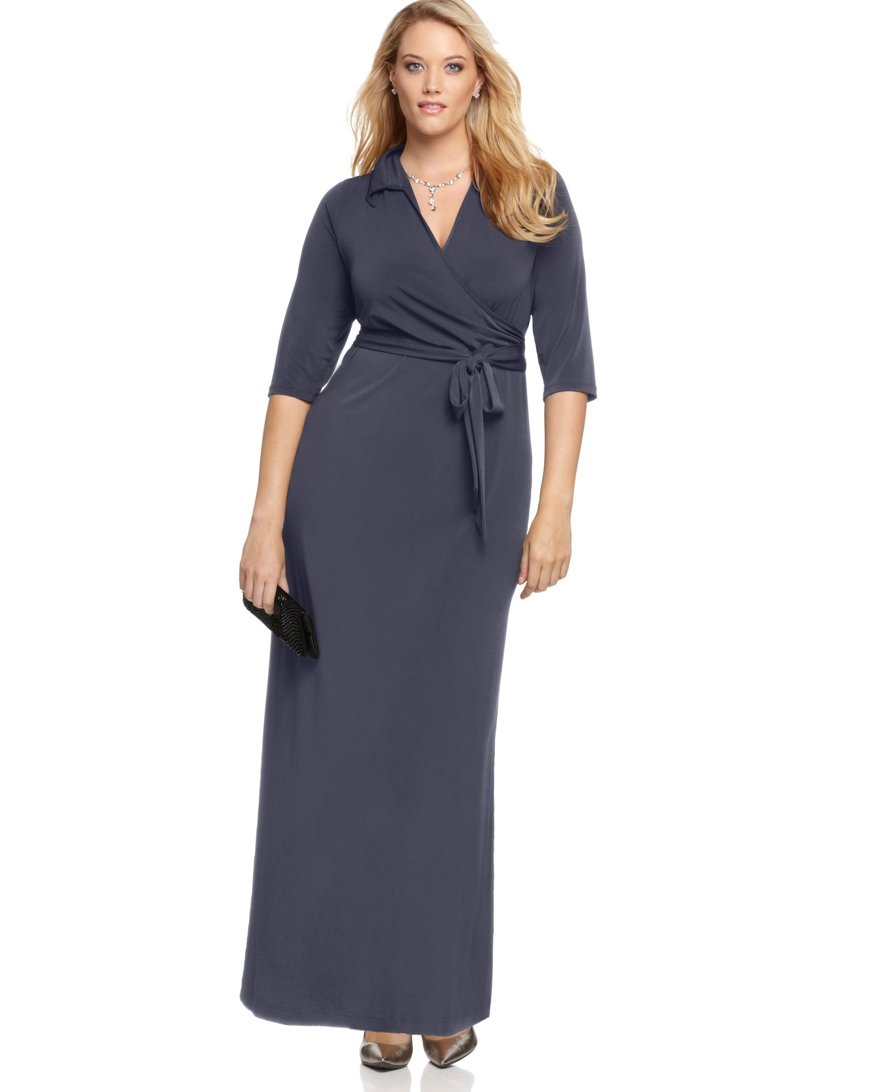 87b0c82757e NY Collection Plus Size Faux-Wrap Maxi Dress - Plus Size Sale   Clearance - Plus  Sizes - Macy s