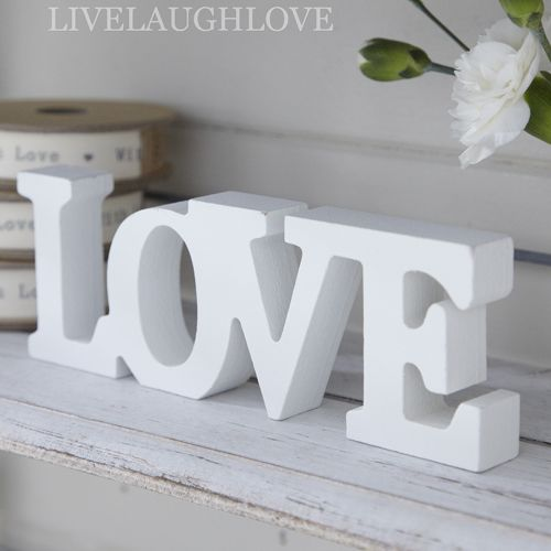 White wooden love sign free standing interiors shabby for Scritte in legno shabby