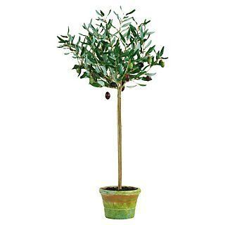 """30"""" Olive Tree In Planter, Faux 