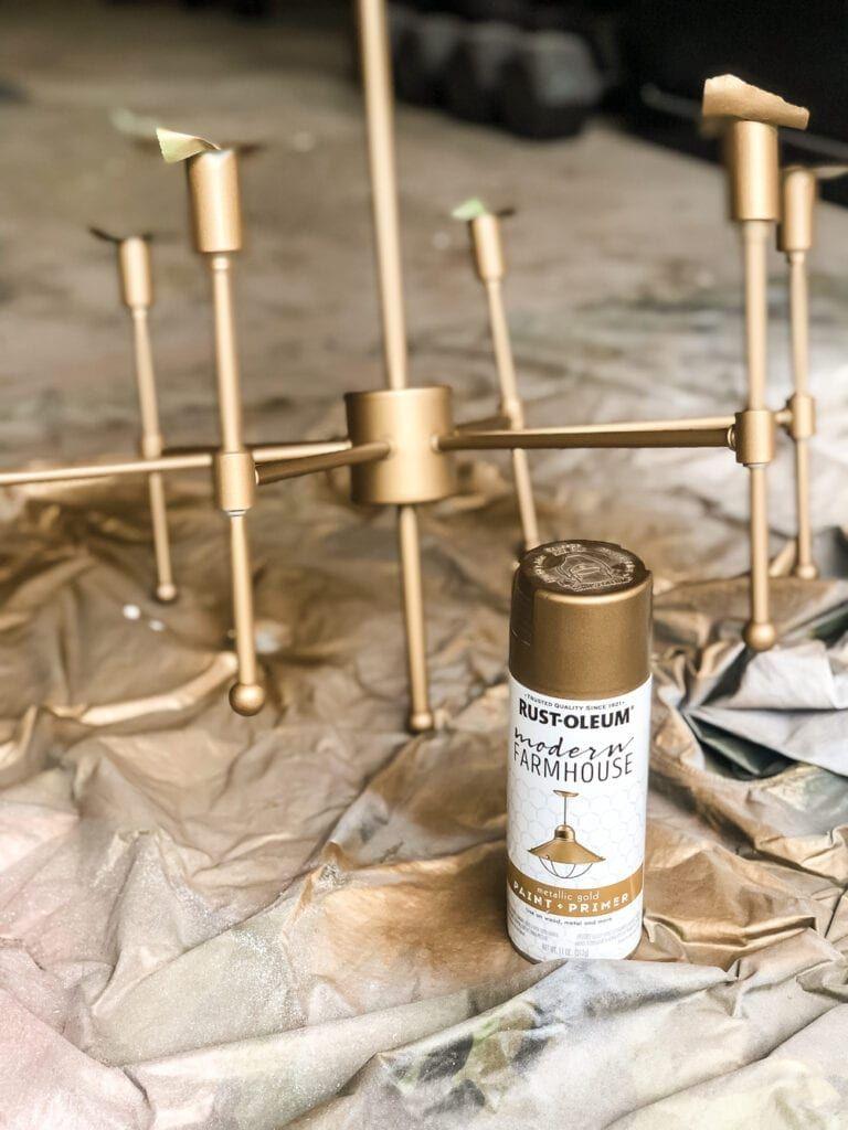 Chandelier Makeover + the Best Brass Spray Paint - Bless'er House